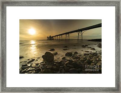 Clevedon Pier Sunset  Framed Print by Rob Hawkins