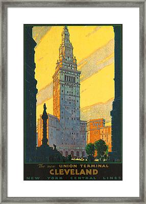 Cleveland - Vintage Travel Framed Print by Georgia Fowler