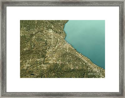Cleveland 3d Landscape View East-west Natural Color Framed Print by Frank Ramspott