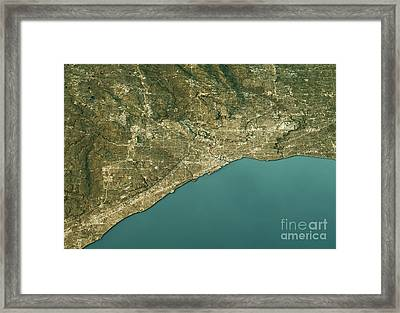 Cleveland 3d Landscape View North-south Natural Color Framed Print by Frank Ramspott