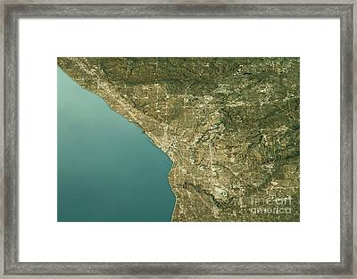 Cleveland 3d Landscape View West-east Natural Color Framed Print by Frank Ramspott