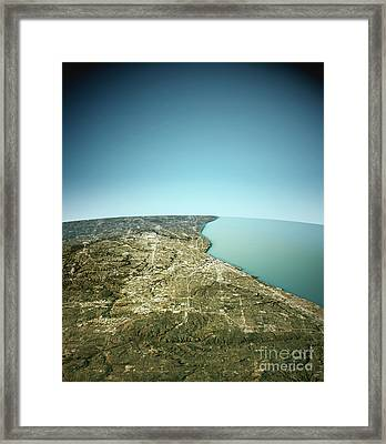 Cleveland 3d View East-west Natural Color Framed Print by Frank Ramspott