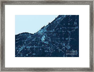Cleveland Abstract City Map Top View Dark Framed Print by Frank Ramspott