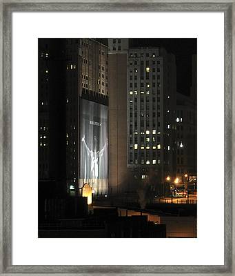 Cleveland At Night 03 - Lebron James Light Display Framed Print by Neil Doren