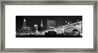 Cleveland Black And White Panoramic Framed Print by Frozen in Time Fine Art Photography