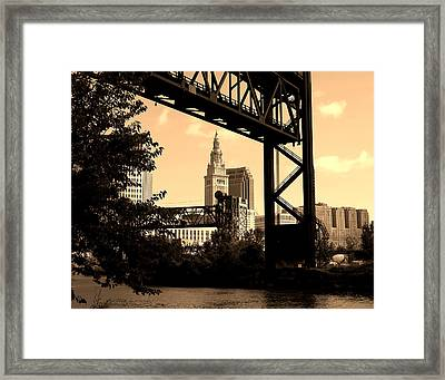 Cleveland Bridge Series 3 Framed Print by Donna Stewart