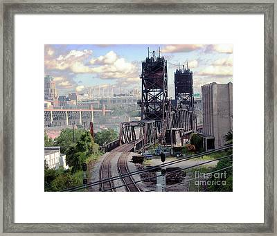 Cleveland Bridge Series 5 Framed Print by Donna Stewart