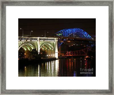 Cleveland Bridge Series 7 Framed Print by Donna Stewart
