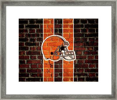 Cleveland Browns Brick Wall Framed Print by Dan Sproul