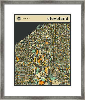 Cleveland City Map Framed Print