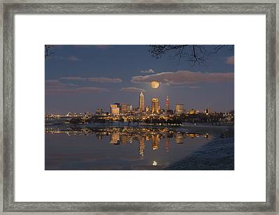 Cleveland Full Moonrise Framed Print by Frank Shoemaker