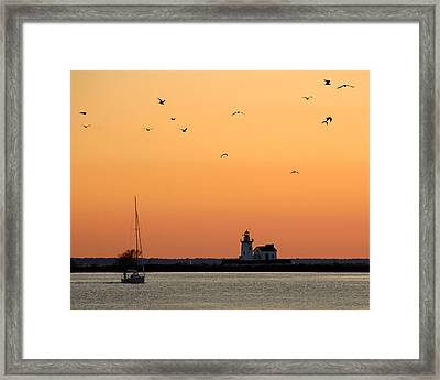Cleveland Harbor Sunset Framed Print by Jon Holiday