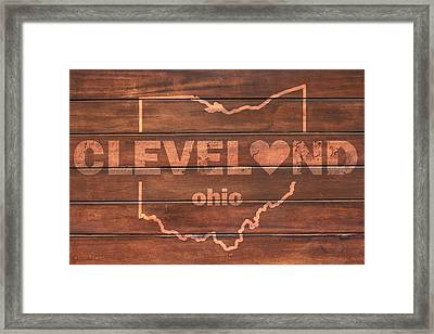 Cleveland Heart Wording With Ohio State Outline Painted On Wood Planks Framed Print