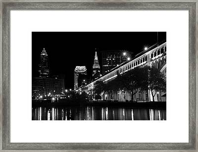 Cleveland In Black And White Framed Print