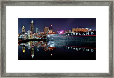 Cleveland Lakefront Pano Reflection Framed Print