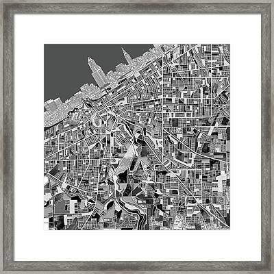 Cleveland Map Black And White Framed Print by Bekim Art