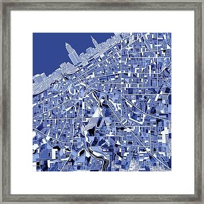 Cleveland Map Blue Framed Print by Bekim Art
