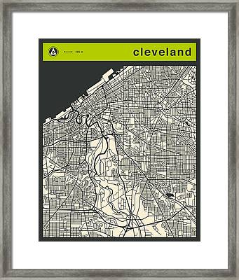 Cleveland Street Map Framed Print by Jazzberry Blue
