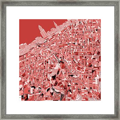 Cleveland Map Red Framed Print by Bekim Art