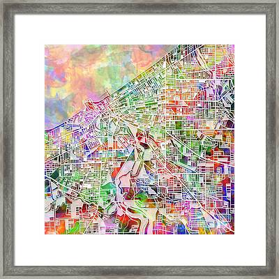 Cleveland Map Watercolor 2 Framed Print by Bekim Art