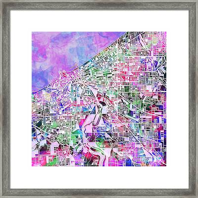 Cleveland Map Watercolor Framed Print by Bekim Art
