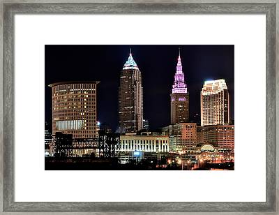 Cleveland Nightscape Framed Print by Frozen in Time Fine Art Photography