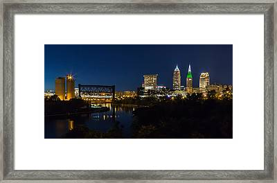 Cleveland Nightscpae Panoramic Framed Print by Dale Kincaid