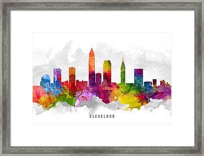 Cleveland Ohio Cityscape 13 Framed Print
