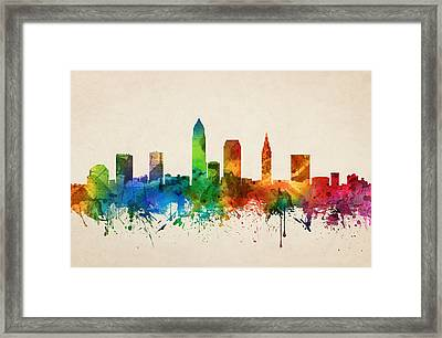 Cleveland Ohio Skyline 05 Framed Print by Aged Pixel