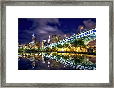 Framed Print featuring the photograph Cleveland Skyline 4 by Emmanuel Panagiotakis