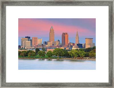 Framed Print featuring the photograph Cleveland Skyline 6 by Emmanuel Panagiotakis