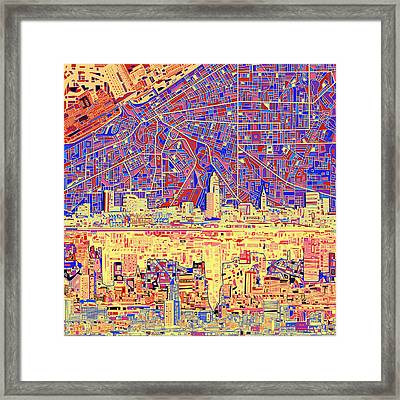 Cleveland Skyline Abstract 11 Framed Print