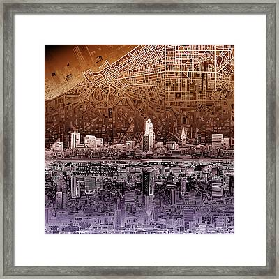 Cleveland Skyline Abstract 2 Framed Print