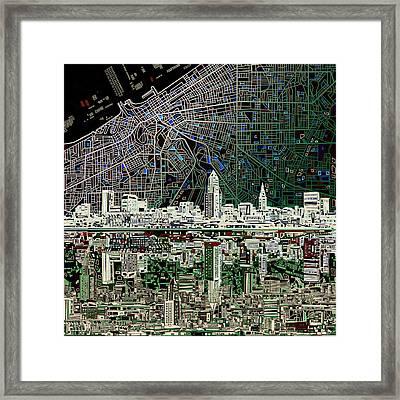Cleveland Skyline Abstract 4 Framed Print