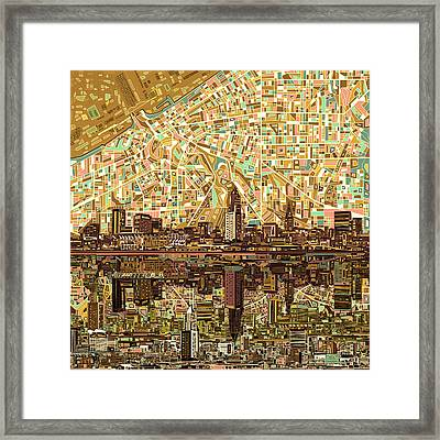 Cleveland Skyline Abstract 6 Framed Print