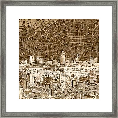 Cleveland Skyline Abstract 7 Framed Print