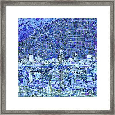 Cleveland Skyline Abstract 9 Framed Print