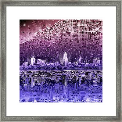 Cleveland Skyline Abstract Framed Print