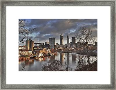 Cleveland Skyline From The River - Morning Light Framed Print by At Lands End Photography