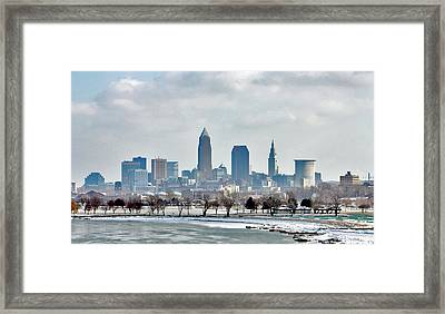 Framed Print featuring the photograph Cleveland Skyline In Winter by Bruce Patrick Smith