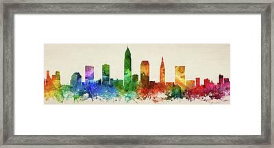 Cleveland Skyline Panorama Usohcl-pa03 Framed Print