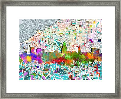 Cleveland Skyline Watercolor 2 Framed Print