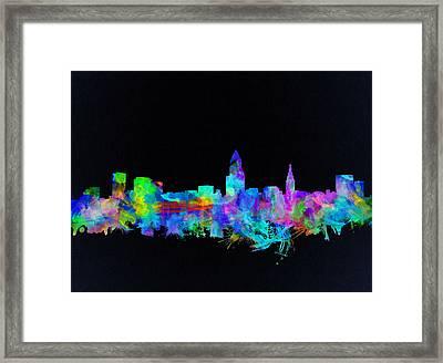 Cleveland Skyline Watercolor 3 Framed Print