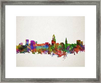Cleveland Skyline Watercolor 4 Framed Print