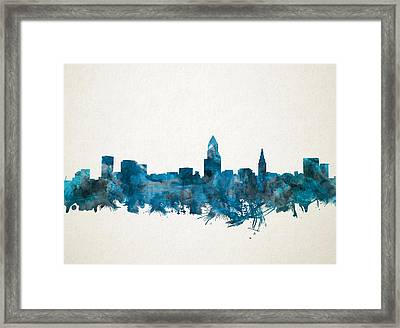 Cleveland Skyline Watercolor Blue Framed Print