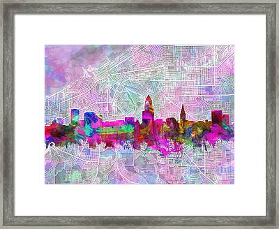 Cleveland Skyline Watercolor Framed Print