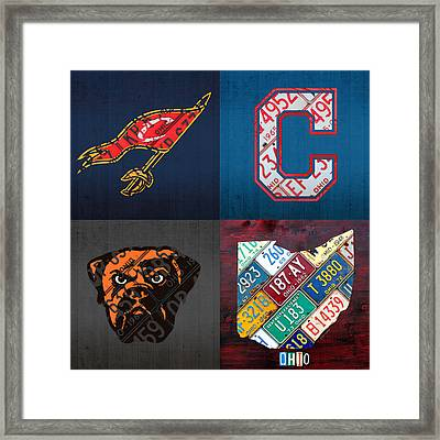 Cleveland Sports Fan Recycled Vintage Ohio License Plate Art Cavaliers Indians Browns And State Map Framed Print by Design Turnpike