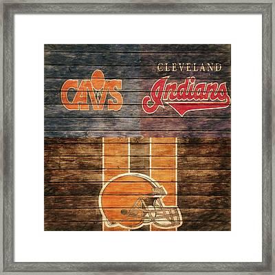 Cleveland Sports Teams Barn Door Framed Print