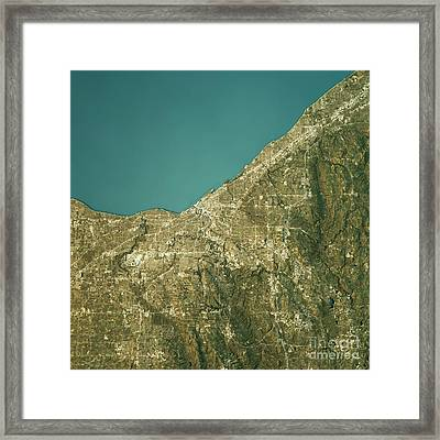 Cleveland Topographic Map Natural Color Top View Framed Print by Frank Ramspott
