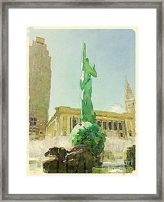 Cleveland War Memorial Fountain Framed Print by Janet Dodrill